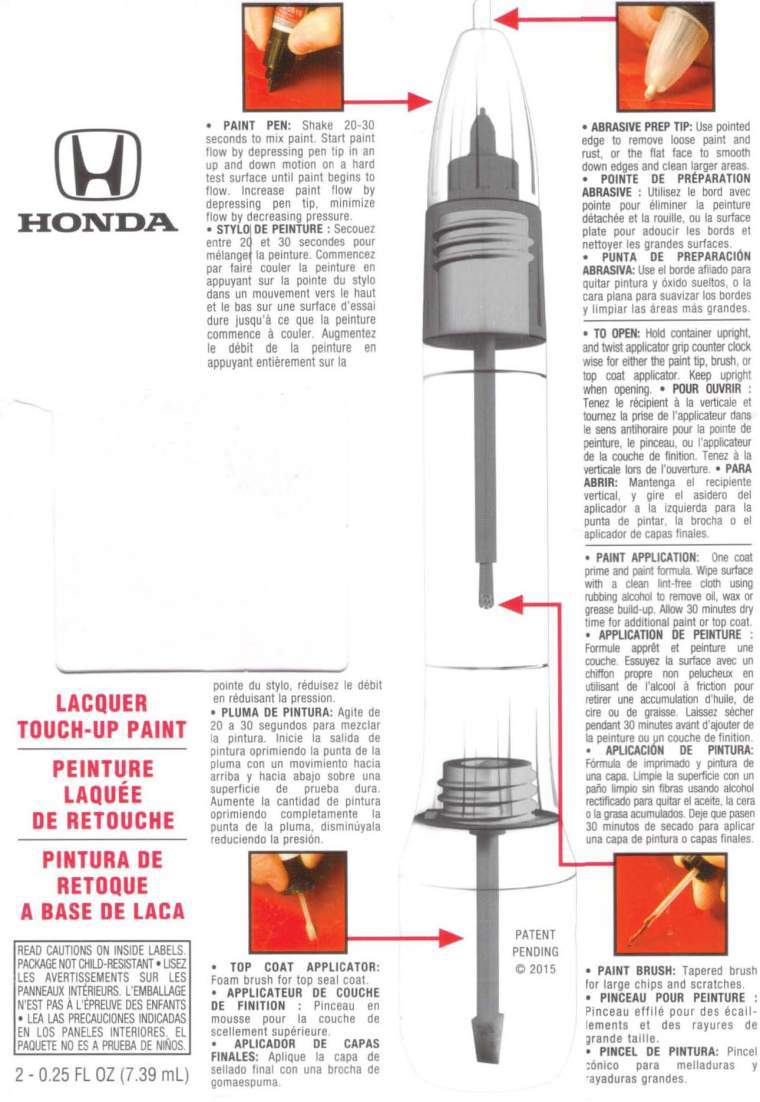 Honda Lacquer Touch-Up Paint Instructions